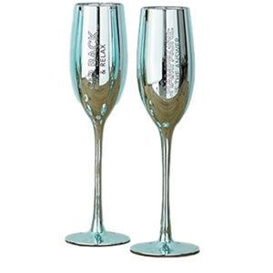 Aqua Blue Metallic Glass Champagne Flute Set
